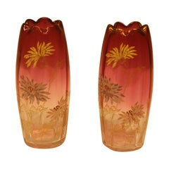 Pair of Early 20th Century Enameled Vases, Mount Joy