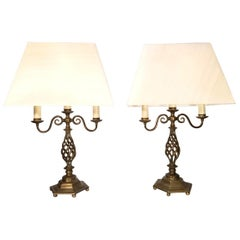 Pair of Early 20th Century English Brass Barley Twist Candelabra Lamps