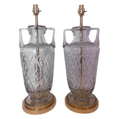 Pair of Early 20th Century English Cut Crystal & Bronze Lamps, 1920