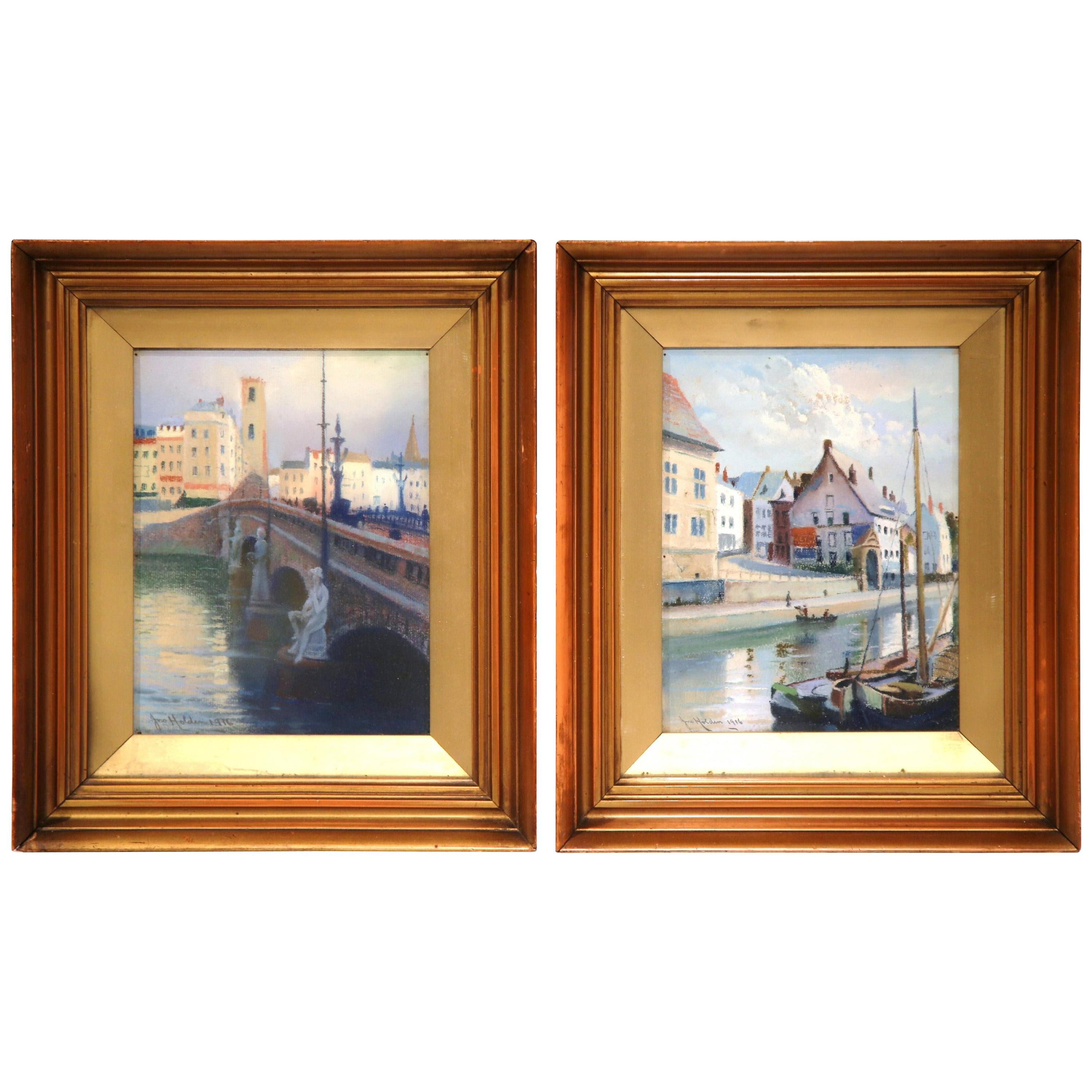 Pair of Early 20th Century English Framed Watercolors Signed Holden Dated 1916