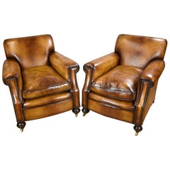 Pair of Early 20th Century English Hand Dyed Leather Club Chairs