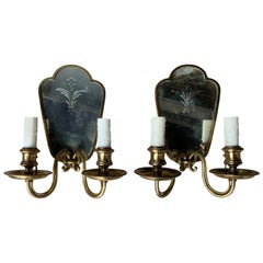 Pair of Early 20th Century Etched Mirror & Bronze Two-Arm Sconces