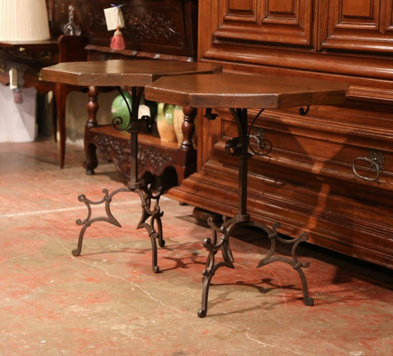 Gothic Pair of Early 20th Century European Walnut Octagonal Tables on Wrought Iron Base For Sale