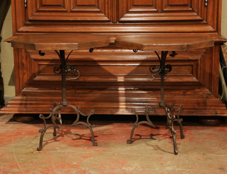 Spanish Pair of Early 20th Century European Walnut Octagonal Tables on Wrought Iron Base For Sale
