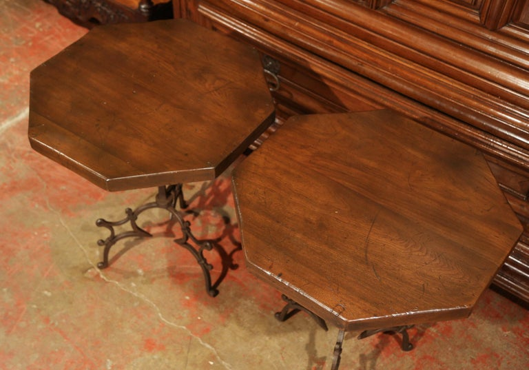 Hand-Carved Pair of Early 20th Century European Walnut Octagonal Tables on Wrought Iron Base For Sale