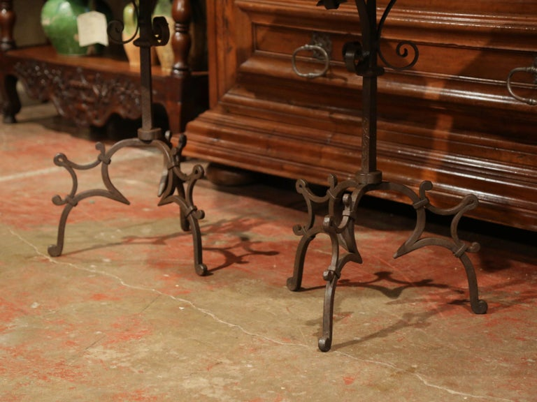 Pair of Early 20th Century European Walnut Octagonal Tables on Wrought Iron Base In Excellent Condition For Sale In Dallas, TX