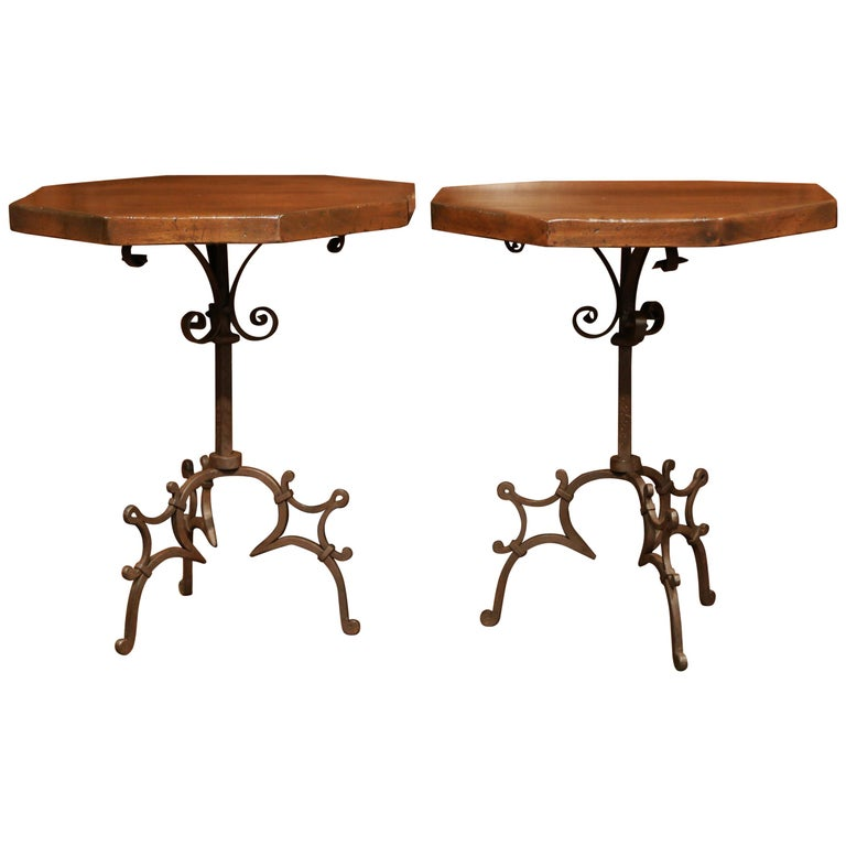 Pair of Early 20th Century European Walnut Octagonal Tables on Wrought Iron Base For Sale