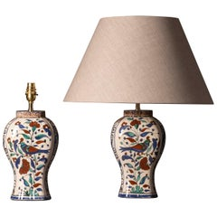 Pair of Early 20th Century Faience Vase Lamps