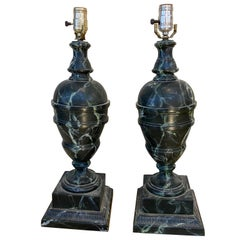 Pair of Early 20th Century Faux Marble Lamps