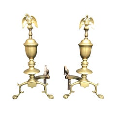 Pair of Early 20th Century Federal Style Andirons with Eagles