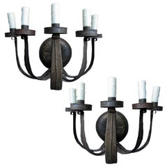 Pair of Early 20th Century Five-Light Tole Sconces
