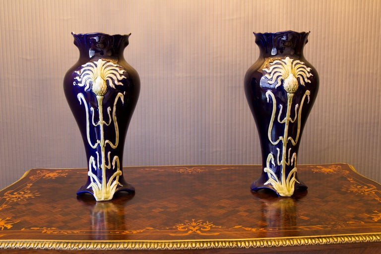 Pair of Early 20th Century French Art Nouveau Vases by J. Bernard De Bruyne For Sale 7