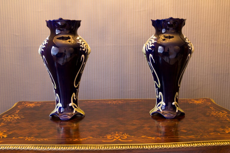 Pair of Early 20th Century French Art Nouveau Vases by J. Bernard De Bruyne For Sale 8