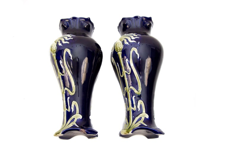 Pair of Early 20th Century French Art Nouveau Vases by J. Bernard De Bruyne For Sale 12