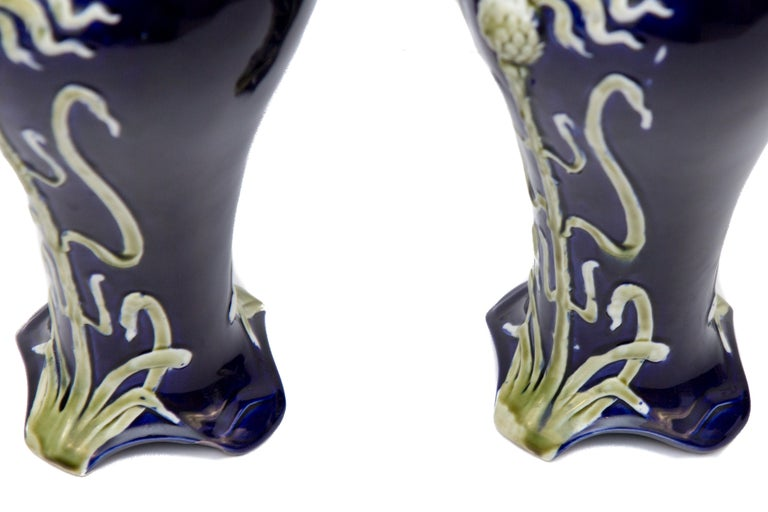 Pair of Early 20th Century French Art Nouveau Vases by J. Bernard De Bruyne For Sale 14