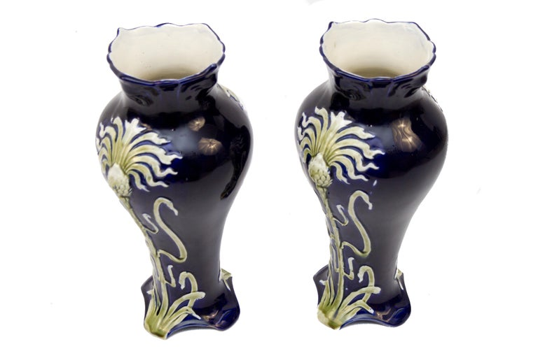 Pair of Early 20th Century French Art Nouveau Vases by J. Bernard De Bruyne For Sale 15