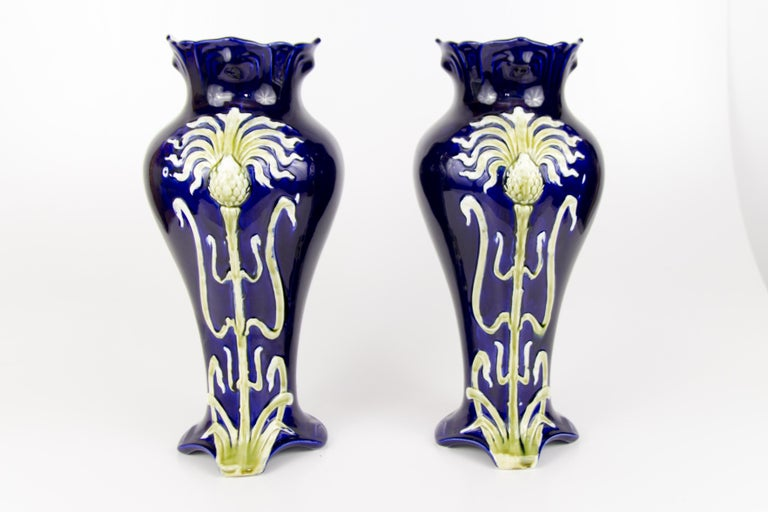 Hand-Painted Pair of Early 20th Century French Art Nouveau Vases by J. Bernard De Bruyne For Sale