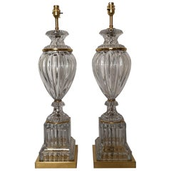 Pair of Early 20th Century French Baccarat Crystal and Bronze Lamps