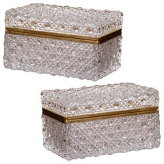Pair of Early 20th Century French Baccarat Cut Glass and Brass Jewelry Boxes