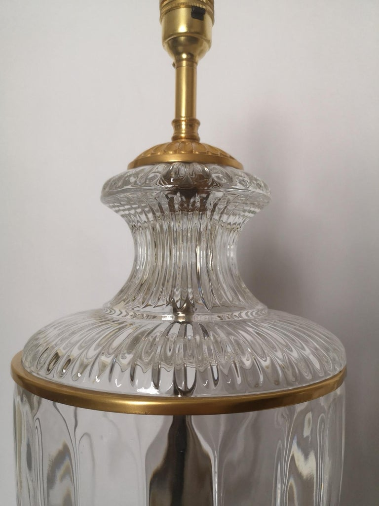 Pair of Early 20th Century French Baccarat Style Crystal Lamps In Good Condition For Sale In London, GB