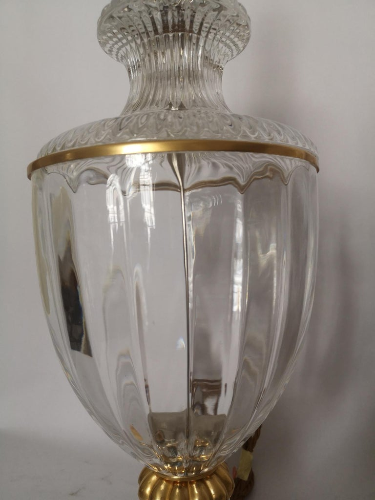Bronze Pair of Early 20th Century French Baccarat Style Crystal Lamps For Sale