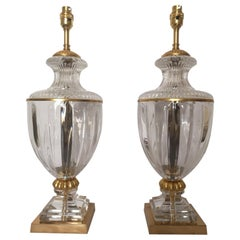Pair of Early 20th Century French Baccarat Style Crystal Lamps