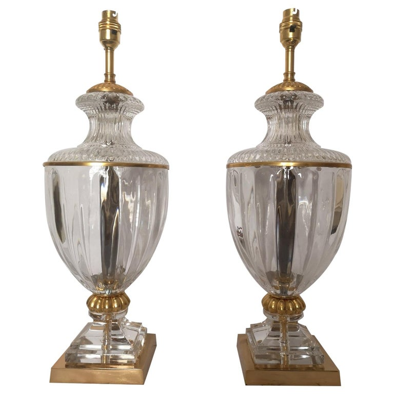 Pair of Early 20th Century French Baccarat Style Crystal Lamps For Sale