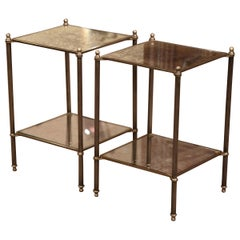 Pair of Early 20th Century French Brass and Mirrored Two-Tear Jansen End Tables