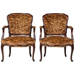 Pair of Early 20th Century French Cabriolet Arm Chairs with Tiger Print Fabric