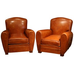 Pair of Early 20th Century French Club Armchairs with Original Brown Leather