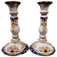 Pair of Early 20th Century French Faience Candleholders from Normandy