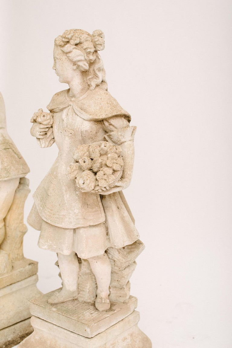 Concrete Pair of Early 20th Century French Garden Statues For Sale
