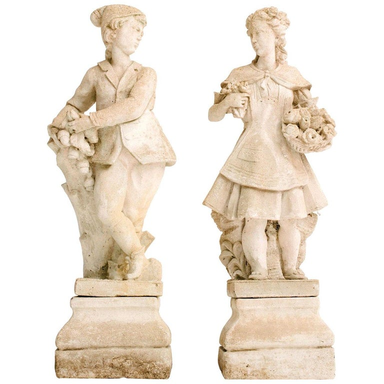 Pair of Early 20th Century French Garden Statues For Sale