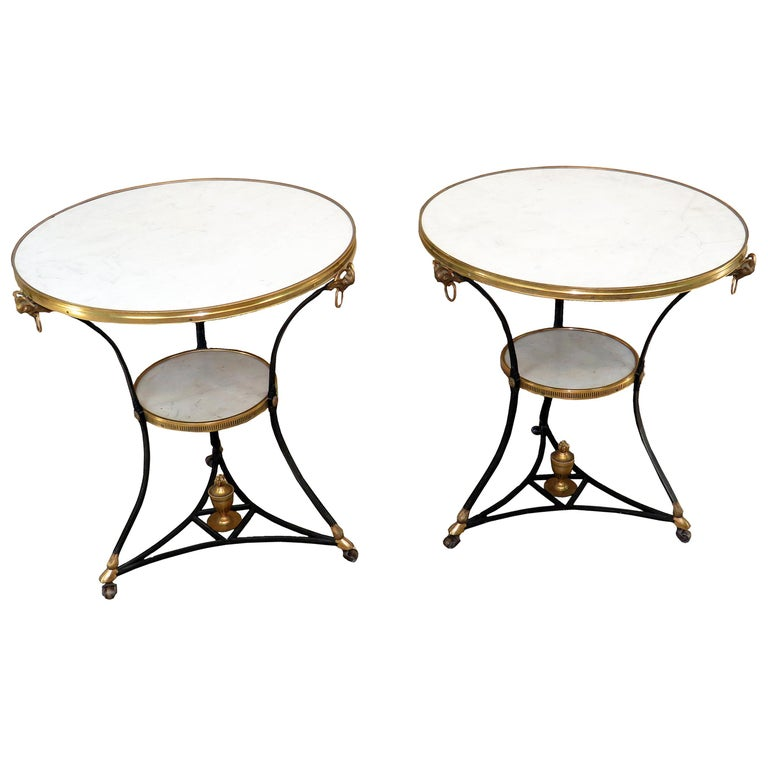 Pair of Early 20th Century French Gilt Bronze and Marble Guéridon Tables