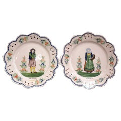 Pair of Early 20th Century French Hand-Painted Faience Plates Signed HR Quimper