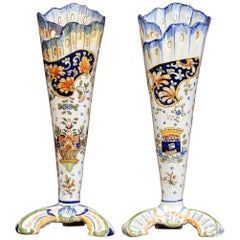Pair of Early 20th Century French Hand-Painted Faience Vases from Normandy