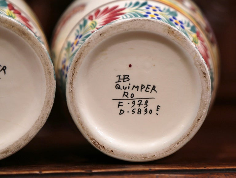 Pair of Early 20th Century French Hand Painted Vases Signed HB Quimper For Sale 6