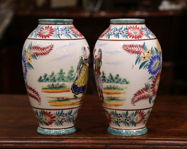 Ceramic Pair of Early 20th Century French Hand Painted Vases Signed HB Quimper For Sale