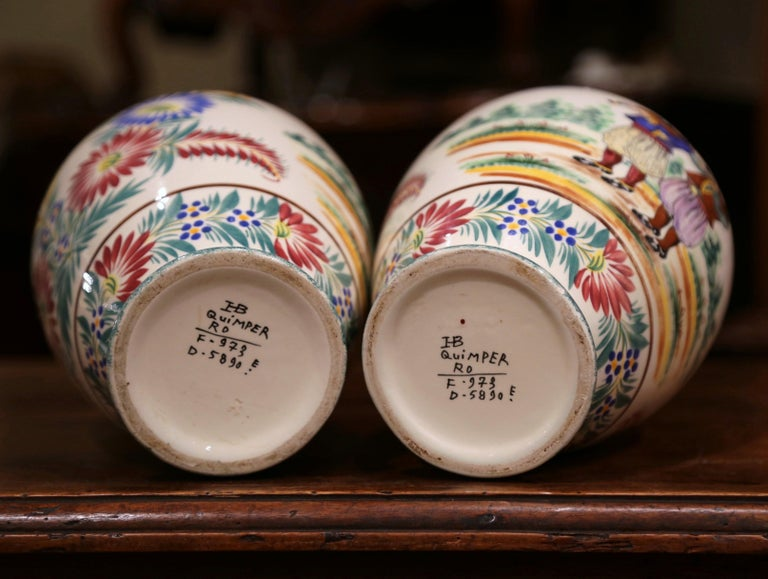 Pair of Early 20th Century French Hand Painted Vases Signed HB Quimper For Sale 4