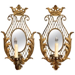 Pair of Early 20th Century French Iron Crystal and Mirrored Wall Sconces