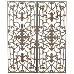 Pair of Early 20th Century French Iron Gates with Symmetrical Design
