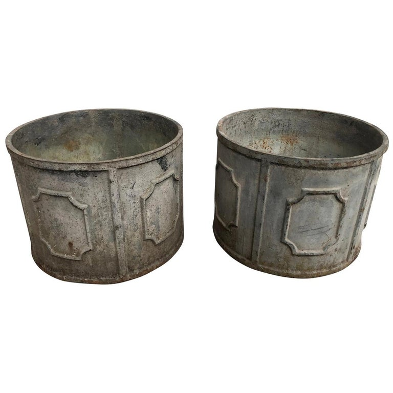Pair of Early 20th Century French Iron Jardinières For Sale