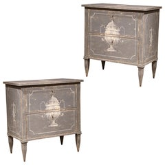 Pair of Early 20th Century French Louis Philippe Painted Nightstands or Commodes