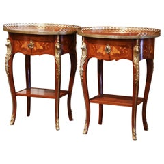 Pair of Early 20th Century French Louis XV Walnut Marquetry & Brass Side Tables