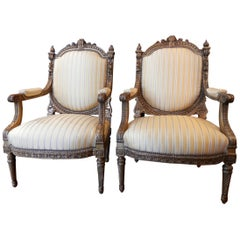 Pair of Early 20th Century French Louis XVI Gilt Large Open Armchairs