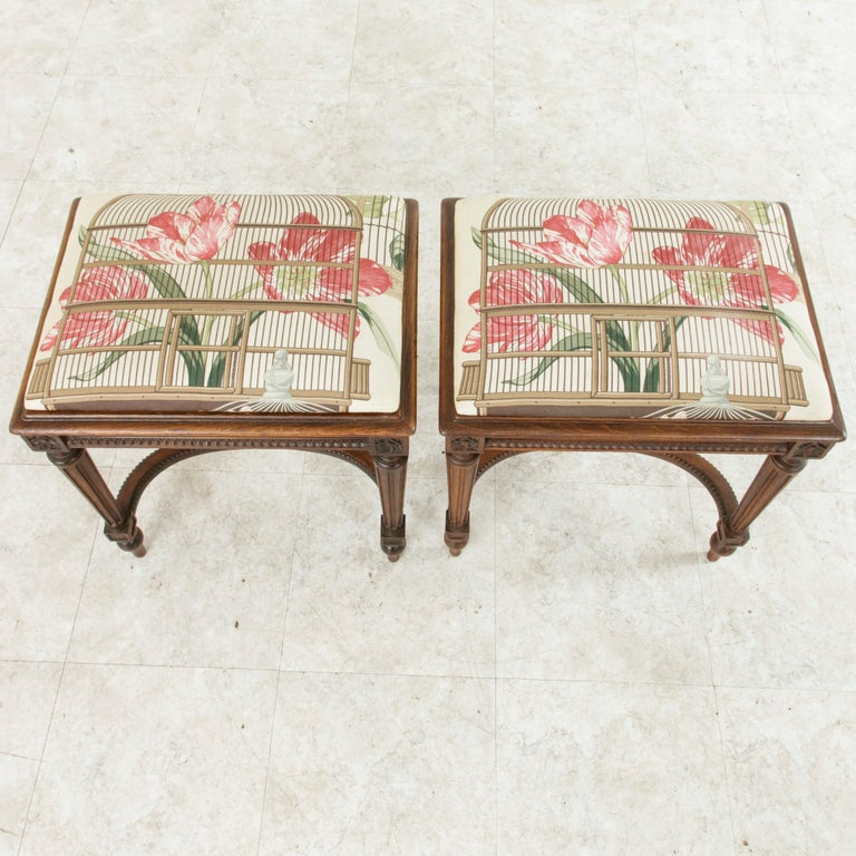 Pair of Early 20th Century French Louis XVI Style Walnut Benches, Caned Seats For Sale 7