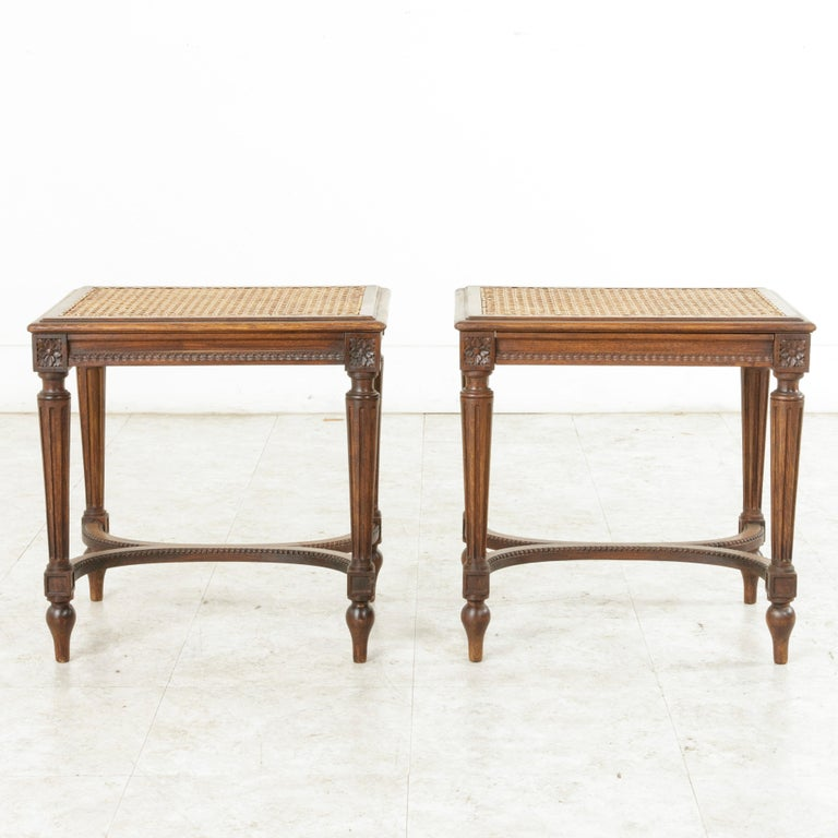 Pair of Early 20th Century French Louis XVI Style Walnut Benches, Caned Seats In Good Condition For Sale In Fayetteville, AR
