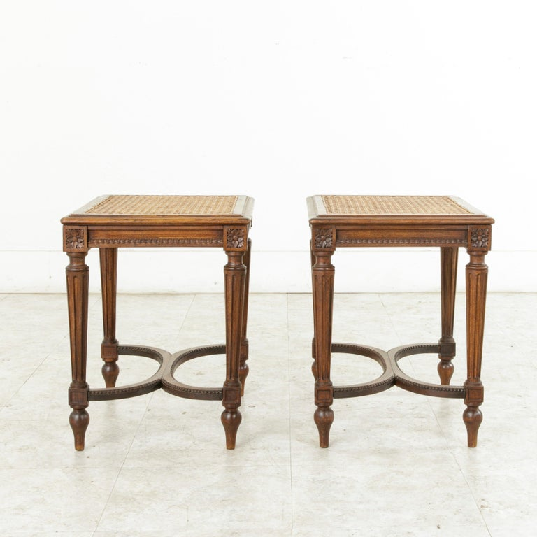 Pair of Early 20th Century French Louis XVI Style Walnut Benches, Caned Seats For Sale 1