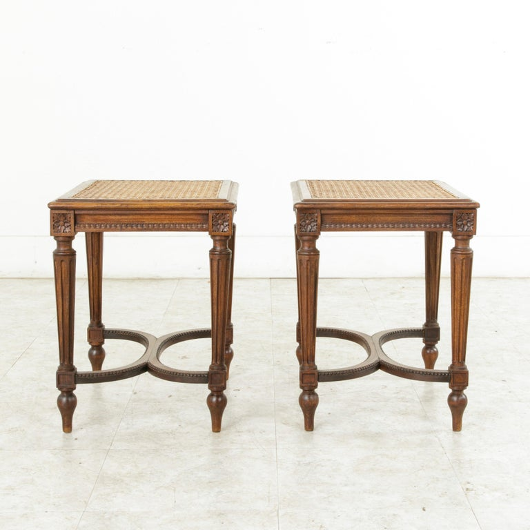 Pair of Early 20th Century French Louis XVI Style Walnut Benches, Caned Seats For Sale 2