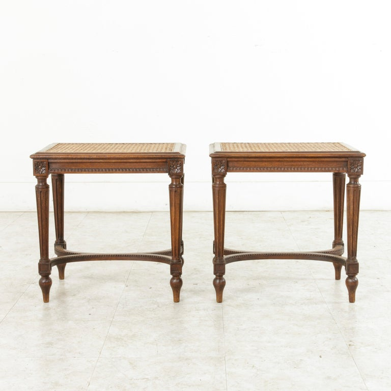 Pair of Early 20th Century French Louis XVI Style Walnut Benches, Caned Seats For Sale 3